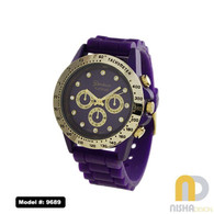 Purple and Gold Ladies Silicone Watch with Gold Trim and Tachymeter Bezel