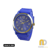 Cobalt blue plain face watch with large numbers and gold bezel for ladies