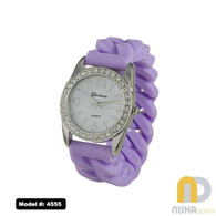 lavender one size fits all watch with stretch jelly band in plaited design