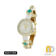 White with Turquoise Charms wrap watch with movable clover floating charms and leather single wrap band