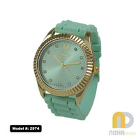 mint green jelly watch with faceted bezel