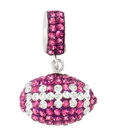 Purple and White Crystal Football Charm Pendant