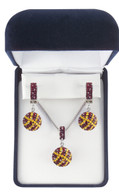 Dark Red (Maroon or Garnet) and Gold Crystal Basketball Jewelry Set