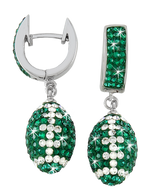 Green and White Crystal Football Earrings
