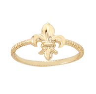 Yellow-vermeil-fleur-de-lis-ring-sterling-silver-Nisha-Design