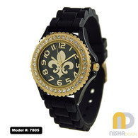 Black-and-Gold-Fleur-De-Lis-Jelly-Watch