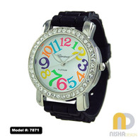 Black extra large ladies silicone jelly watch with multicolor numbers
