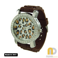 Brown and Silver Leopard Face Extra Large Jelly Watch