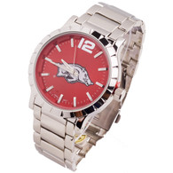 Arkansas-Razorbacks-mens-metal-watch