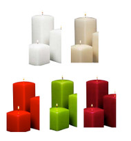 """7"""" Tall Square Pillar Candles 12pcs per Case"""