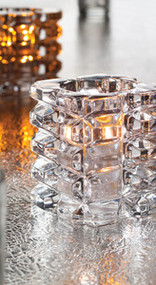 Faceted Cube Votive Glass Lamp Clear