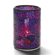 Crackle Cylinder  Blue and Purple 4""