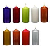 "3"" X 9"" Metallic Pillar candles Unscented - Dozen"