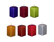 "3"" Square Metallic Pillar Candles One Dozen"