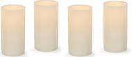 "6"" LED  Ivory Wax Pillar Candle Pack: 12/Case Wholesale"