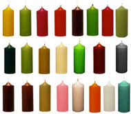 "3"" x 9"" Round Unscented Pillar Candles  In Colors - Full Case of 12 Pcs"