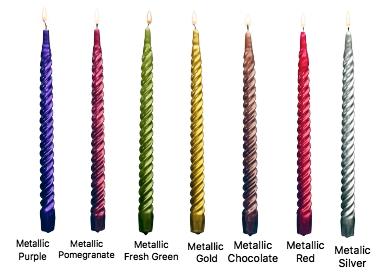 12 Inch Metallic Twist Taper Candles Set Of 72 Spiral