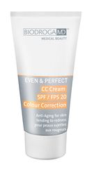 BIODROGA MD EVEN & PERFECT CC CREAM SPf 20 COLOR CORRECTION FOR REDNESS, 40ml