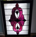 burgundy purple black white stained glass panel