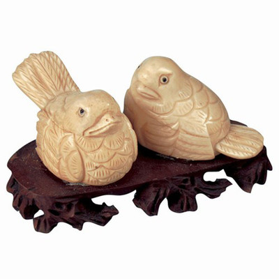 Love Birds Figurines Hand Carved Bone on Rosewood Base