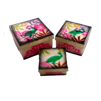 Tropical Flowers Crane Design Capiz Shell 3 Nesting Keepsake Boxes
