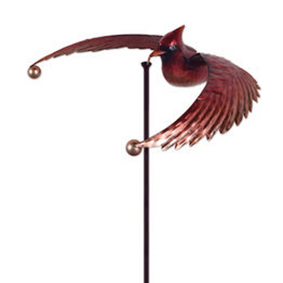 red bird garden spinner stake