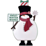 Winter Snowman Metal Down Home Holiday Porch Sitter Indoor Outdoor Decor