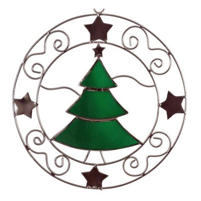 Green Capiz Shell Sun Catcher Tree Star Silver Ornament