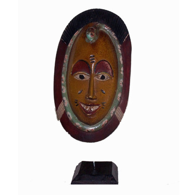 African Hand Carved Wood Sculpture Passport Mask 4 on Stand wall Art