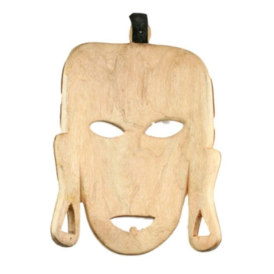 African Rustic Wooden Tribal Natural Bark Mask Wall Art