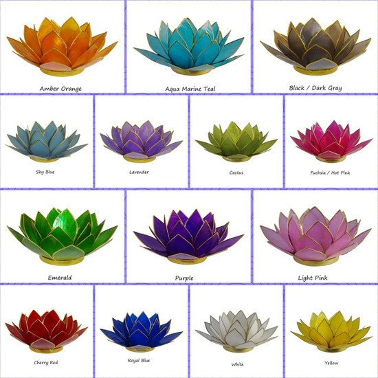 Lotus Tea Light Candle Holder Capiz Shell Home Decorating Accent