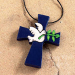 blue wooden cross with dove of peace