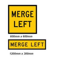 Merge Left Sign - 2 Sizes - Corflute