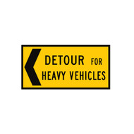 Detour For Heavy Vehicles Sign -  Left OR Right Arrow- (1200mmx600mm) - Corflute
