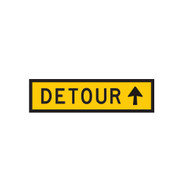 Detour Sign with Arrow Pointing Ahead - (1200mmx300mm) - Corflute