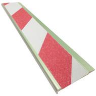 Aluminium Stair Nosing - Carborundum Super Anti Slip Insert - Red/White - 75mmx10mm - Sold Per Metre