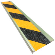 Aluminium Stair Nosing - Carborundum Super Anti Slip Insert - Black/Yellow - 75mmx10mm - Sold Per Metre