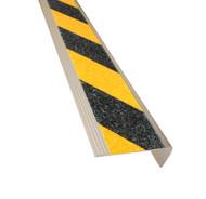Aluminium Stair Nosing - Carborundum Super Anti Slip Insert - Black/Yellow - 75mmx30mm - Sold Per Metre