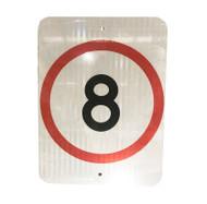 8km Speed Restriction Sign (450mm x 600mm) - Class 1 Reflective Aluminium