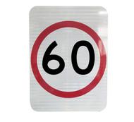 60km Speed Restriction Sign (450mm x 600mm) - Class 1 Reflective Aluminium