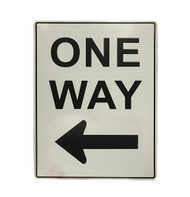 One Way Sign with Left Arrow (450mm x 600mm) - Metal