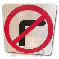 No Right Turn Sign (Symbolic) (450MMx450MM) - Class 1 Reflective Aluminium