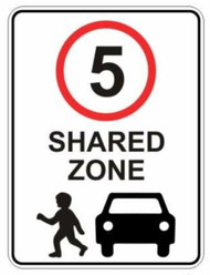 5km Shared Zone Sign (600x450MM) - Metal