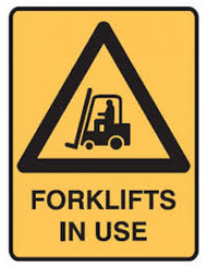 "Warning Sign ""FORKLIFTS IN USE"" (300x225MM) - Metal"