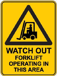 "Warning Sign ""WATCH OUT FORKLIFT"" (450x300MM) - Metal"