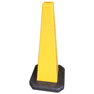 Four Sided Yellow Safety Cone Blank - 890MM High With Rubber Base