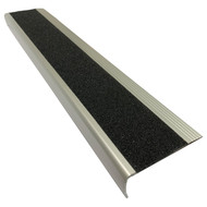 Aluminium w/ Black Super Anti Slip Insert 75MMx30MM Stair Nosing - Per Metre