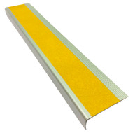 Aluminium w/ Yellow Super Anti Slip Insert 75MMx30MM Stair Nosing - Per Metre
