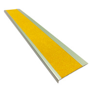 Aluminium w/ Yellow Super Anti Slip Insert 75MMx10MM Stair Nosing - Per Metre