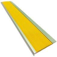 Aluminium w/ Yellow Rubber Insert 75MMx10MM Stair Nosing - Per Metre